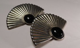 Pair Vintage Sterling Silver Onyx Mexican Earrings