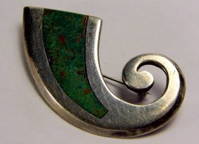 Modern Mexican Sterling Silver & Turquoise Brooch Horn