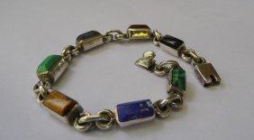 Taxco Semi Precious Stone Sterling Bracelet Geometric