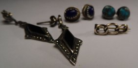 Victorian Rolled Gold Pin &three Pair Antique Earrings