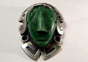 Mexican Sterling Lariat Slide Pendant Aztec Face