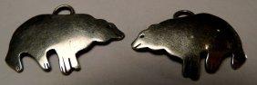 Native American Sterling Silver Bears Earring Drops