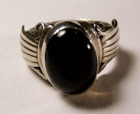 Native American Sterling Silver Obsidian Ring Size 7.25