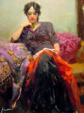 """Pino """"her Favorite Book"""" Ltd Ed. Giclee On Canvas"""