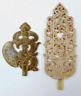 Two Jade Ceremonial Blades