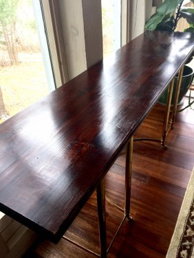 An Italian Metal And Wood Board Long Table