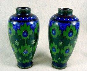 A Pair Of Art Deco Style Cloisonne Vases - Meiji Pd.
