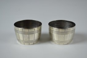 A Small Pair Of Novelty Victorian Barrel Shaped Silver