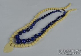 A Graduated Row Of 38 Lapis Lazuli Beads, C1920, And A