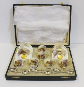 A Royal Worcester Porcelain Cased Coffee Set For Six