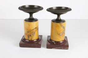 A Pair Of Antique Grand Tour Style Bronze And Marble