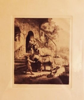 "Amand Durand Etching Rembrandt's ""the Good Samaritan"""