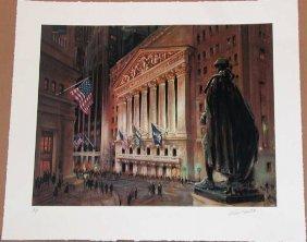 Kamil Kubik, Wall Street At Night, Signed Serigraph