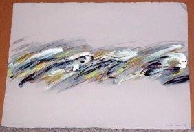 Joyce Rezendes, Silver Waves, Signed Acrylic Painting