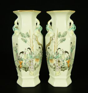 Pair Chinese Famille Rose Porcelain Vase