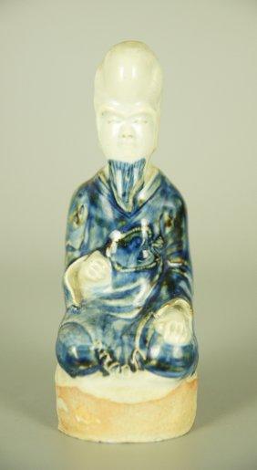 Chinese Blue Glaze Porcelain Buddha Statue