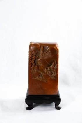 A Chinese Soapstone Seal With A Zitan Stand
