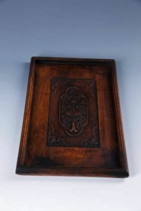 A Chinese Ching Carved Wooden Tray