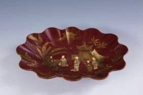 A Chinese Lacquered Wooden Tray
