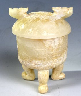 A Chinese White Jade Double Dragon Vessel