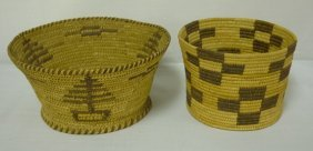 2 DECORATED INDIAN BASKETS; 7 1/4 IN & 5 1/4 IN D