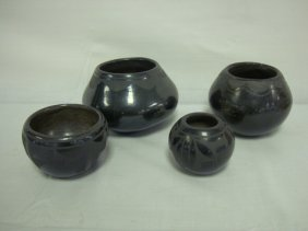 GROUP OF 4 INDIAN BLACK POTTERY SMALL POTS, SIGNE