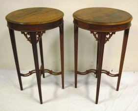 PR OF ROUND MAHOGANY STANDS W/X STRETCHER BASES;