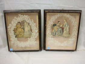 TWO SHADOWBOX, 3-D FASHION PRINTS; 14 X 17 IN IMAGE