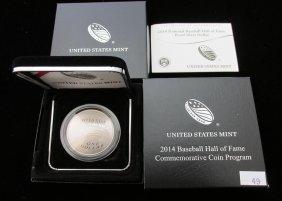 2014 Baseball Hall Of Fame Silver Proof Dollar, Ogp