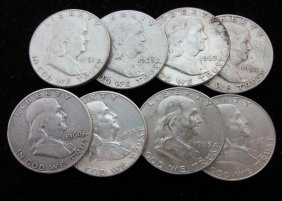 Lot Of 8 Franklin Half Dollars, Assorted Dates