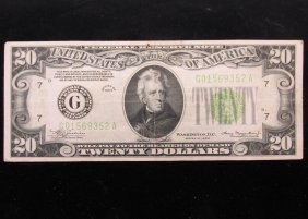 1934 Us $20 Note - Chicago
