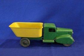 """All Metal Wyandotte Toy Dump Truck W/ Wooden Wheels 16"""""""