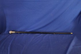 "35.5"" Wooden Cane With Possible Silver Handle"