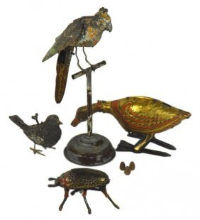 Lot Of 4 Rare Antique Mechanical Wind-up Toys, Marx,