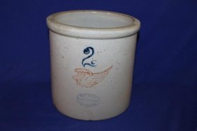 2 Gallon Red Wing Stoneware Crock Small Chip On Base