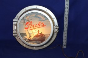 """Stroh's Beer Lighted Porthole Sign """"welcome Aboard"""""""