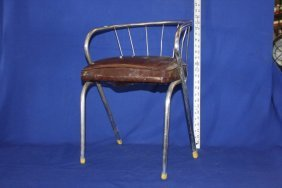 Vintage Leather & Chrome Child's Chair/stool