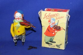 Schuco Solisto Clown Playing Violin W/ Orig Box & Key
