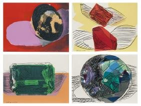 "Andy Warhol ""gems (set Of 4)"" Color Screenprints,"