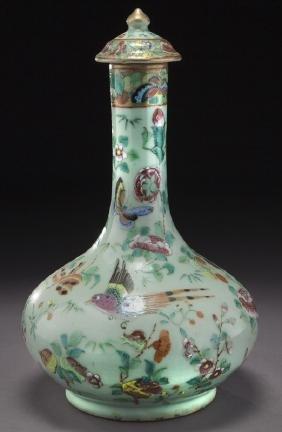Chinese Qing Canton Rose Porcelain Lidded Vase