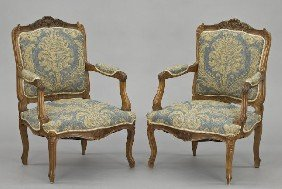 Pr. Louis XV Style Arm Chairs,
