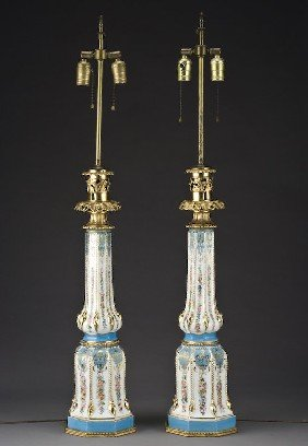 Pr. Sevres Style Porcelain Lamps With Celeste Blue