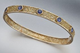 Retro 18K Gold And Sapphire Filigree Bracelet