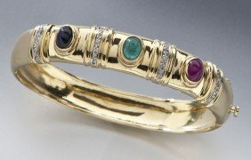 14K, Diamond, Ruby, Emerald And Sapphire Bangle