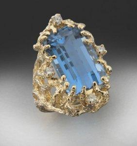 14K Diamond And Aquamarine Ring