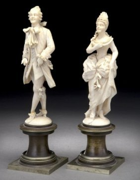 Pr. French Carved Ivory Figures Modeled As A Lady