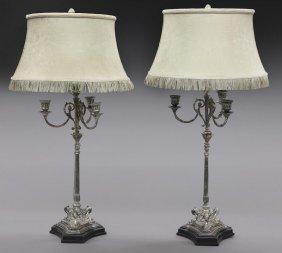 Pr. Silverplate Candelabra Lamps