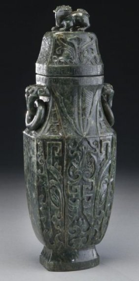 Chinese Carved Spinach Jade Vase And Cover