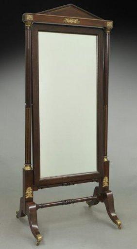 French Empire Style Mahogany Framed Cheval Mirror