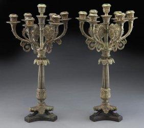 Pr. 7-light Belle Epoque Gilt Bronze Candelabra